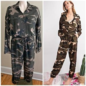 EASEL camo jogger drawstring slouchy jumpsuit